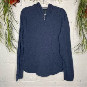 Lucky Brand Blue Hooded Pullover Henley Size L